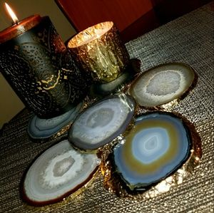 Accessories - 24K Gold Plated Natural Agate Coasters - Set of 6